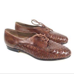 Trotters woven leather Lila - lace up flat shoe